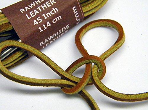 Tan Rawhide Läder Snören För Alla Stövlar Och Kvalitetsskor 1/8 Tums Fyrkant Cut Rawhide (28 Tum)