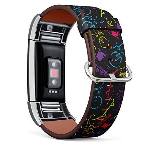 Replacement Leather Strap Printing Wristbands Compatible with Fitbit Charge 2 - Fashion Trendy Pattern with Fitbit Bicycles,Skateboards and Rollers