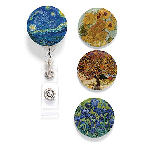 (Buttonsmith Van Gogh Starry Night Tinker Reel Retractable Badge Reel - with Alligator Clip and Extra-Long 36 inch Standard Duty Cord - Made in The USA )