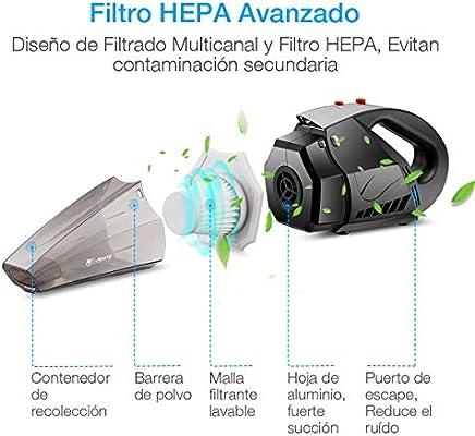 isYoung Aspirador de Coche 12V 6000PA Aspiradora de Mano Portátil ...