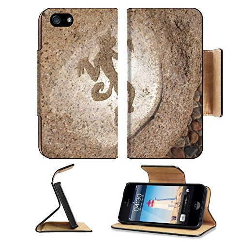 Luxlady Premium Apple iPhone 5 iphone 5S Flip Pu Leather Wallet Case iPhone5 IMAGE ID 2861447 Monkey primitive art draving on stone Ancient Graffiti Replacement