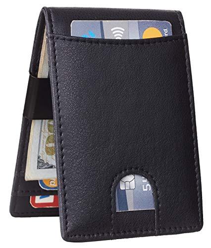 GOSTWO Mens Bifold Wallet Money Clip RFID Blocking Travel Wallet Credit Card Holder (napa black size A)