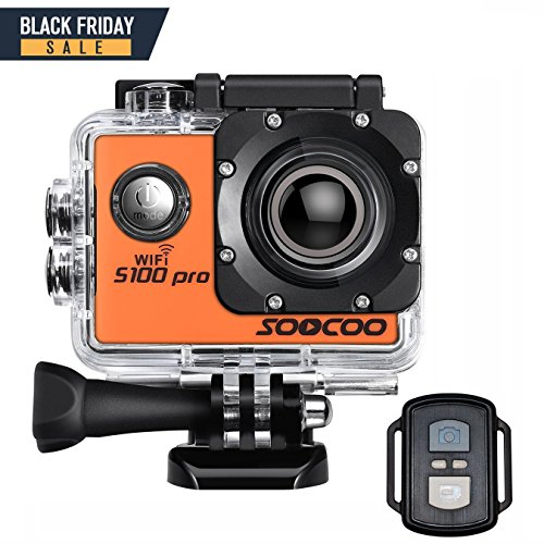 4K WIFI Sports Action Camera, SOOCOO S100 Pro Touchscreen Action Camera Ultra HD Waterproof DV Camcorder 20MP 170 Degree Wide Angle 2 inch LCD Screen/2 Batteries/17 Mounting Kits-Orange by SOOCOO