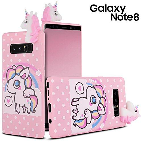 CellJoy Case Compatible with Samsung Galaxy Note 8 [3D Unicorn Armor] Soft Silicone Rubber Rainbow ~ White 3D Unicorn ~ Polka Dot Design / Star Design - Slim Cover (Polka Dot)