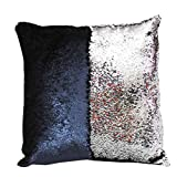 Pillowcase, Elogoog Fashion DIY Two Tone Glitter Sequins Throw Pillows Decorative Cushion Case Sofa Car Covers (Black/Silver, 16 x 16 Inches)