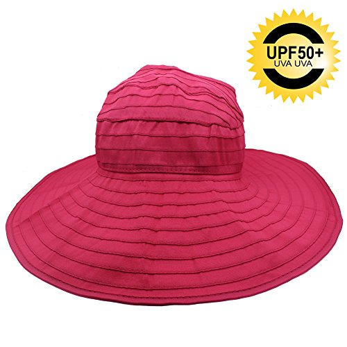 UPF 50+ Sun Hat for Women Ladies,UV Protection Collapsible Sun Hat Visor for Beach Hiking Outdoor Research Gardening,Packable Portable Adjustable Chin Strap, Open TOP Sun Hat for Large Head (Large Rose Sun Hat)