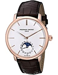 Frederique Constant Mens FC705X4S4 Slim Line Rose Gold-Plated Automatic Watch with Brown Leather Band