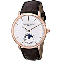 Frederique Constant Men's FC705X4S4 Slim Line Rose Gold-Plated Automatic Watch with Brown Leather Band