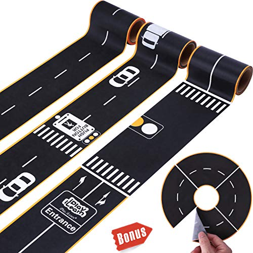 iPlay, iLearn Kids Pretend Play Road Tape Set, Construction Wall Decals, Road Track Stickers for Cars Trucks Vehicles, Stocking Stuffers for Preschoolers, Gift for 3 4 5 Years Old Boys Girls Toddlers -