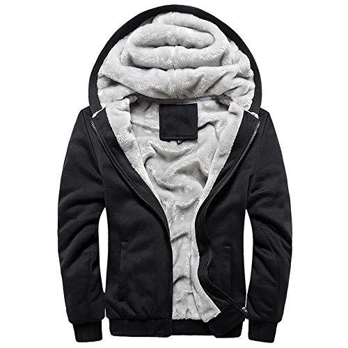 Mens Fleece Zipper Hoodie Sweater Winter Warm Long Sleeve Jacket Outwear Owl Print Plus Velvet Padded Coat