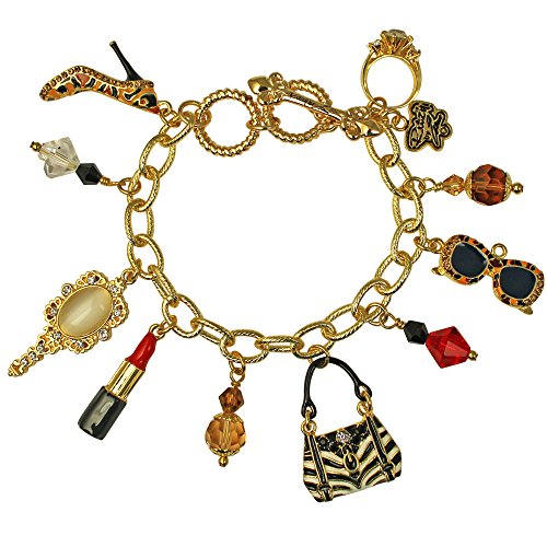 Ritzy Couture Shopping Multi Charm Adjustable Toggle Bracelet (Multi Charm Toggle Bracelet)