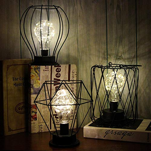melysUS Industrial Vintage Style Desk Lamp,Hollow Black Industrial Wire Iron Bird Cage Battery LED Light Home Decoration Party Desk Lamps Night Light