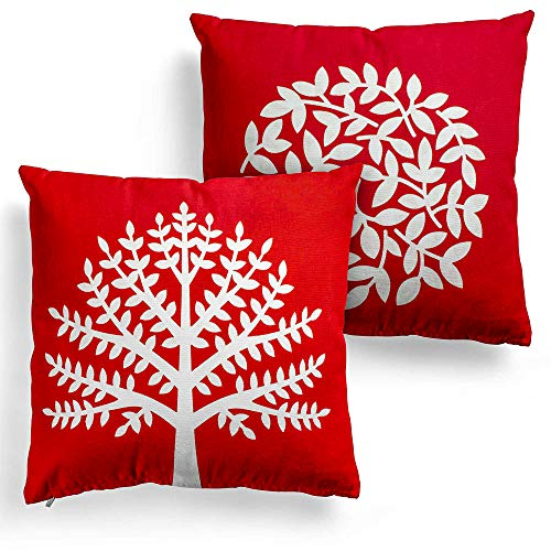 - DecorRack 2 Decorative Throw Pillows with Insert and 100% Cotton Case Cover, 18x18 Square Cushion with Zipper Removable Washable, Toss Pillow for Couch & Bed, Red White Floral Design (Set of 2)