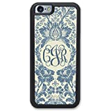 Simply Customized Phone Tough Case, Compatible with iPhone 6/6S Plus (5.5 inch) - Boho Indigo Blue Hipster Monogram Monogrammed Personalized