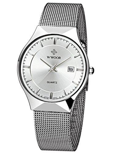 WWOOR Men's Analog Quartz Watch Ultra Thin Dial Date Stainless Steel Mesh Belt Waterproof (Silver)