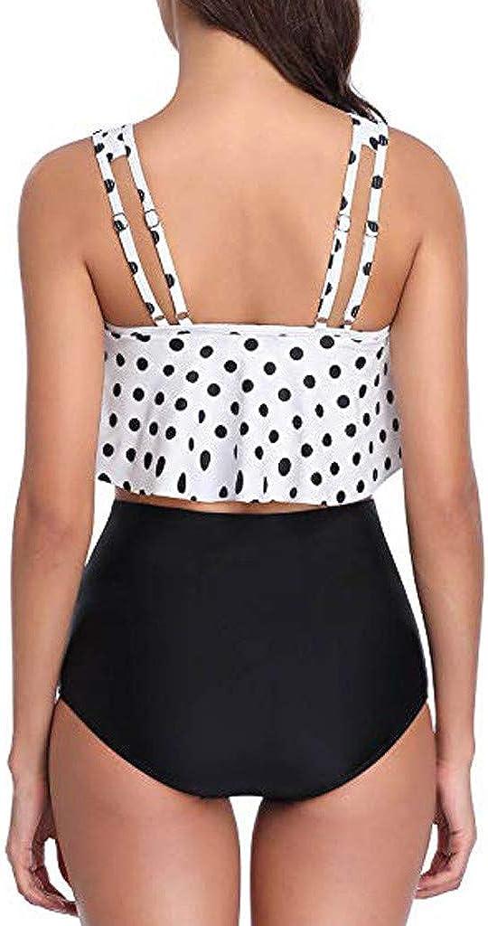Severkill Womens Plus Size Print Ruffle Layered Tankini Set Two Pieces Swimsuit Flounce Swimwear Bathing Suits