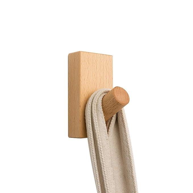 YOYAI Perchero de madera con gancho autoadhesivo para montar ...