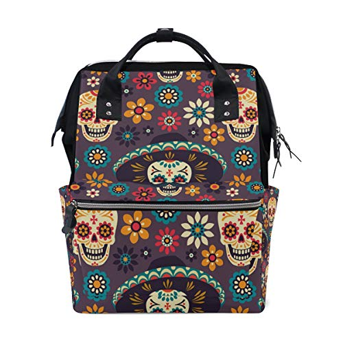 5c2aa5eec190 FOLPPLY Sugar Skull Floral Pattern Diaper Bags Mummy Tote Bags Large  Capacity Multi-Function Backpack for Travel