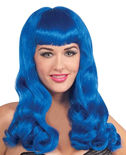 Katy Perry Wigs For Kids (Sherry Berry Blue Wig Long Wavy California Girls Singer Women Costume Accessory)