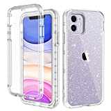 Wireless : LONTECT for iPhone 11 Case Built-in Screen Protector Glitter Clear Sparkly Bling Rugged Shockproof Hybrid Full Body Protective Case Cover for Apple iPhone 11 6.1 2019, Clear/Silver Glitter