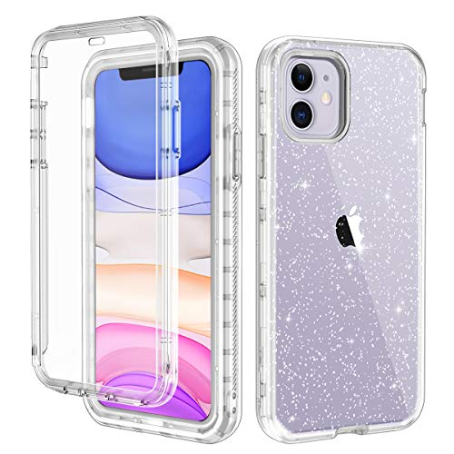 LONTECT for iPhone 11 Case Built-in Screen Protector Glitter Clear Sparkly Bling Rugged Shockproof Hybrid Full Body…