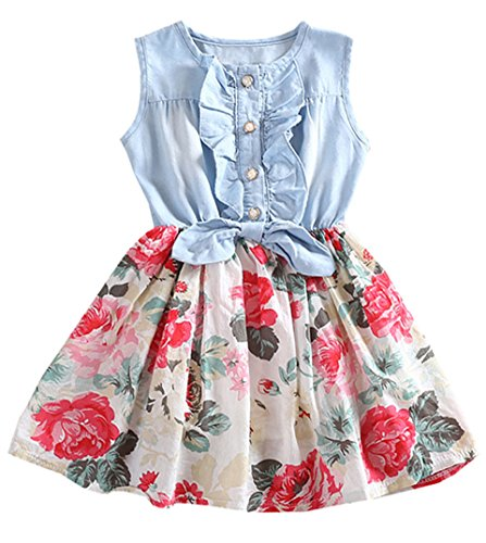 RJXDLT Baby Girls Dresses Lemon Flower Printed Bowknot Skirt Dress White 3-4 Years