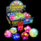 Fun Central 24 Pack - LED Light Up Jelly Rings Bulk - Flashing Rings Party Favors for Kids & Adults - Assorted Pack