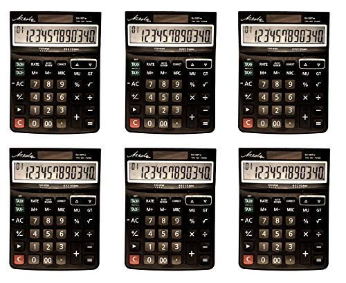 Large Dual Powered Multi Function Calculator Set 12 Digit Bulk Value 6-pack