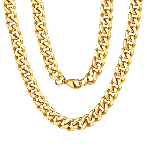 Curb Design Cuban Link Chain 18K Yellow Gold Chain Necklace 9mm 18 inches