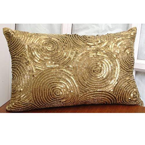 (Gold Lumbar Pillow Cover, Spiral Sequins Antique Sparkly Glitter Pillows Cover, 12