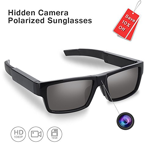 ENKLOV HD 1080P Polarized Sunglasses with Mini Camera,Video Record+Loop Recording+Free 16GB Micro SD Card+Free Sunglass Case,A Perfect - Hd Camera Sunglasses