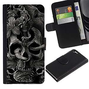 KLONGSHOP / Tirón de la caja Cartera de cuero con ranuras para tarjetas - Skull Rock Roll Metal Ink Tattoo Black - Apple iPhone 5 / 5S