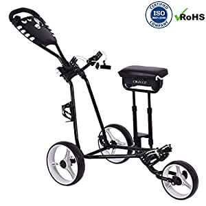 Amazon.com : Cirocco 3 Wheels Foldable Golf Club Push Pull Cart Trolley w/Seat Scoreboard Swivel