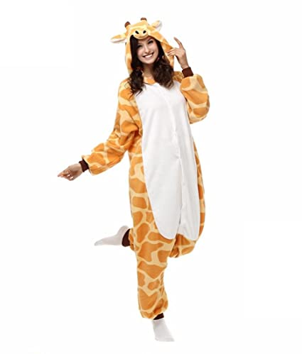 HYY@ Kigurumi Pajamas Giraffe Leotard/Onesie Halloween Animal Sleepwear Yellow Patchwork Polar Fleece Kigurumi
