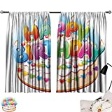 Abeocg Bedroom Balcony Living Room Curtain Birthday Decorations for Kids Cartoon Happy Birthday Party Image Cake Candles Hearts Print Soft Texture W55 xL72 Multicolor