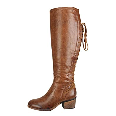 a73aaf895257d FALAIDUO Women Fashion High Heels Leather Lace up Boots Winter Retro ...