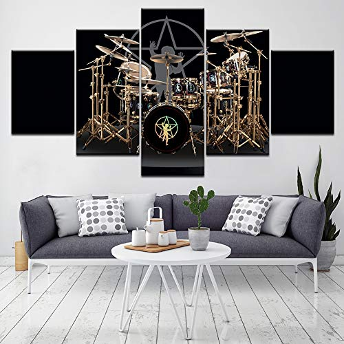 SFXYJ 5 Piece Canvas Print - The Drums of Neil Peart Music - Modular Wallpapers Home Picture Poster Painting Decorative - Living Room/Bedroom,A,40×60×2+40×80x2+40×100×1 ()