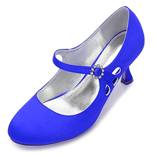 Round Heels Wedding Low Satin Evening Party 45 Pumps yc F17061 Shoes High Cerrar Head Mujeres Toes Blue L The qF0IR