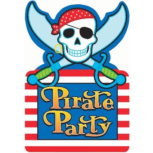 Amscan Pirate's Treasure Themed Party Invitations , Blue and Red, Paper , 3