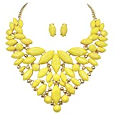 Unique Cluster Bib Statement Boutique Style Gold Tone Necklace & Earrings Set - Assorted colors (Bright Yellow)