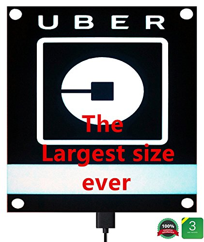 UBER SIGN GLOW LED Light Logo Decal Stickers With Bigger Size High Light 4 Larger Suction Cup Removable For Rideshare Driver UBER Light Up Sign (Cup Neon Sign)