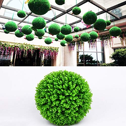 (Dig dog bone Artificial Green Eucalyptus Plant Ball Topiary Wedding Event Home Outdoor Decoration Hanging Ornament. Diameter: 15 inch)