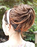 PRETTYSHOP Scrunchy Scrunchie Bun Up Do Hairpiece Hair Ribbon Ponytail Extensions Wavy Curly or Messy Color Variation (brown mix 2T30 DC4)