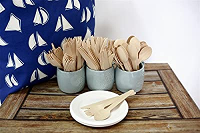 "Rustic 210 Pack Disposable Wooden Cutlery Set 6.5"" with 10 Wheat Straw Plates 