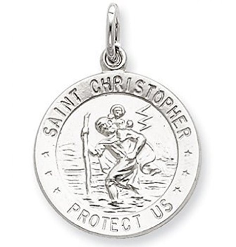 ligious Medal - Hollow 15.0 Mm (1/2 Inch) 14K White Gold ()