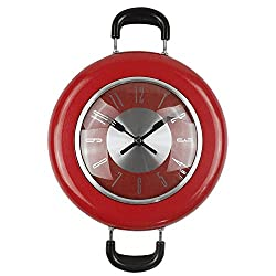 MCC Frying pan wall clock,Stainless steel Quartz movement Novelty Hanging Kitchen Cafe Wall Clock multiple Color selection , red