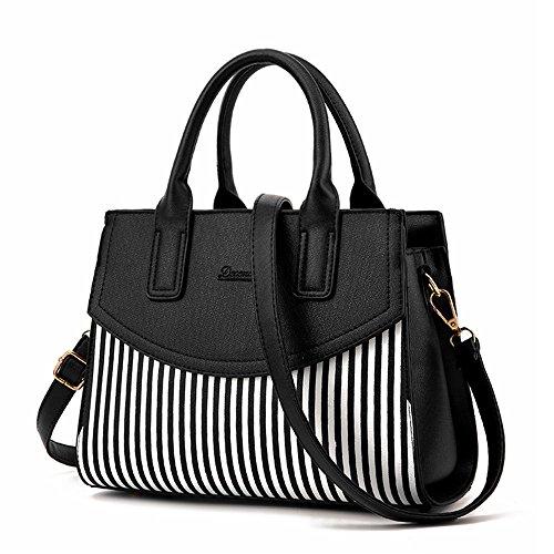 NWT Women Top Handle Bags Bowling Bag Faux Leather Stripe Satchel Shoulder Handbags,Black (Pink Ladies Bowling Bag)