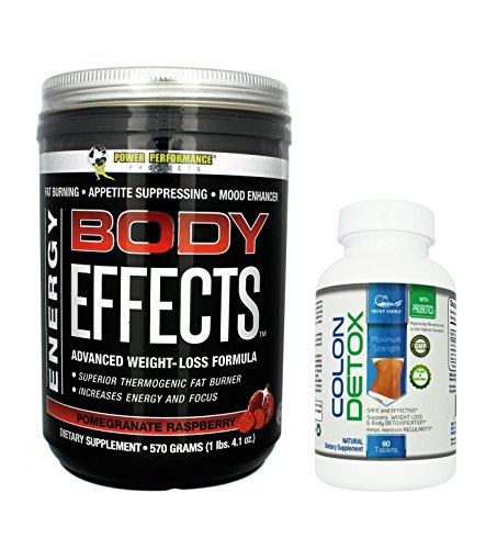 Body Effects + 1 FREE Colon Detox - POMEGRANATE RASPBERRY Power Performance Products - Pre Workout, Weight Loss, Fat Burning, Energy Boosting, Appetite Suppressing, Mood Enhancing & Muscle-Defining