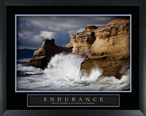Endurance Powerful Ocean Waves Crashing Into Shoreline Framed Motivational Poster