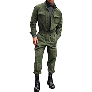 6f7eee7d360 Men s Long One Piece Jumpsuits Casual Long Sleeve Standing Collar Loose  Fashion Playsuit Overalls Button Pockets Straight Pants Pure Color Jumpsuits  One ...